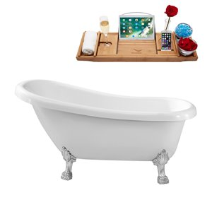 Streamline Freestanding Oval Bathtub with Right-Hand Drain - 28-in x 61-in - Glossy White Acrylic