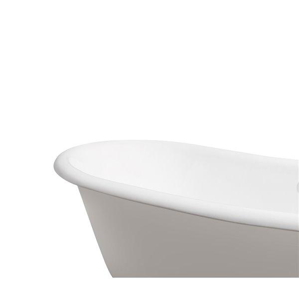 Baignoire de trempage sur pattes ovale en fonte de Streamline avec drain externe, 32 po x 71 po, blanc lustré
