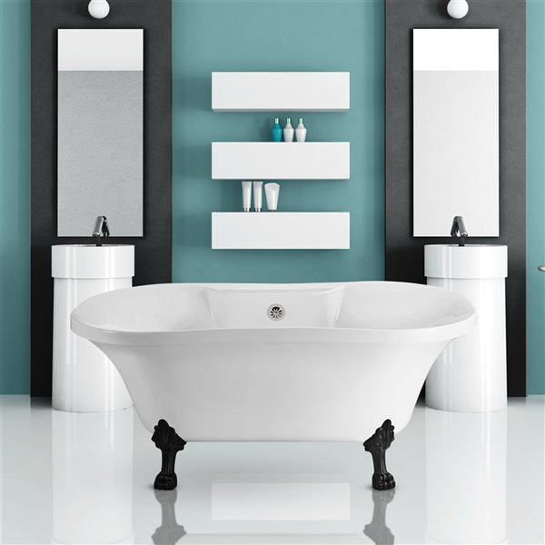 Streamline Freestanding Oval Bathtub and Tray - 32-in x 60-in - Glossy White Acrylic
