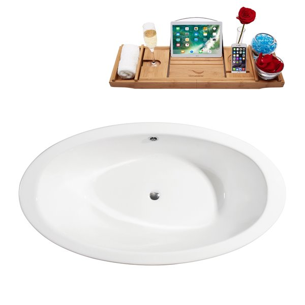 Streamline Freestanding Oval Bathtub and Tray - 35-in x 65-in - Glossy White Cast Iron