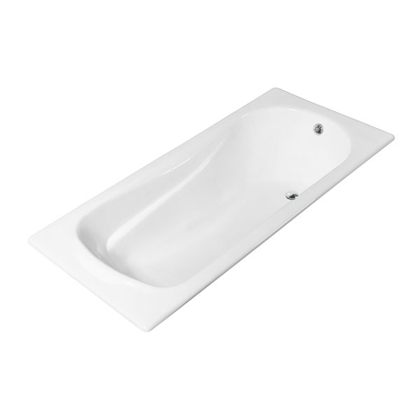 Streamline Drop-In Rectangular Bathtub - Revesible Drain - 32-in x 59-in - Glossy White Cast Iron