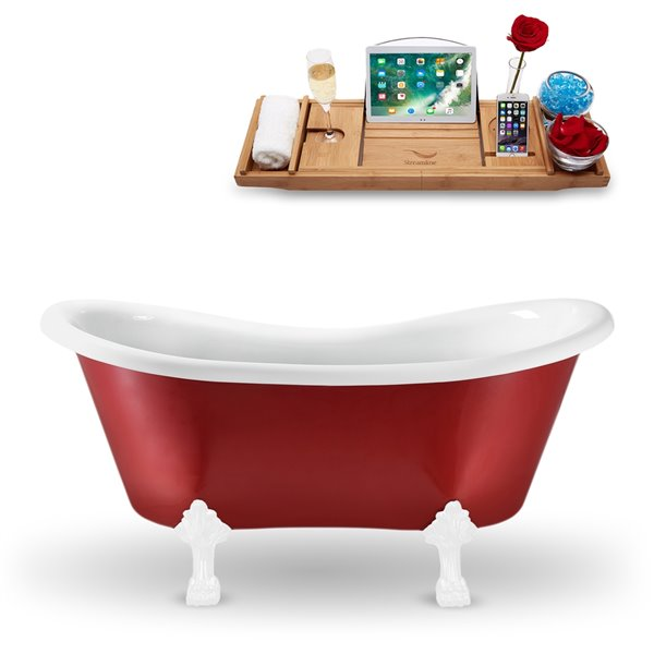Streamline 62-in N1021WH Clawfoot Tub and Tray With Internal Drain