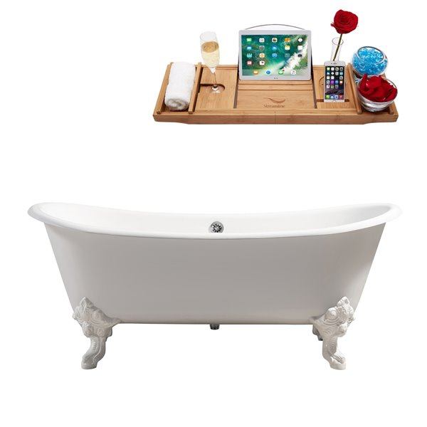 Streamline Freestanding Oval Clawfoot Bathtub - 31-in x 72-in - Glossy White Cast Iron