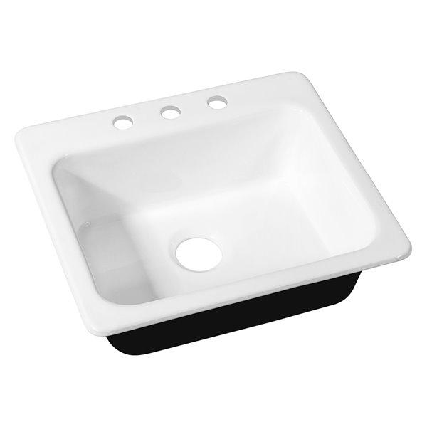 Streamline Drop In Kitchen Sink 25 In White Cast Iron Rona