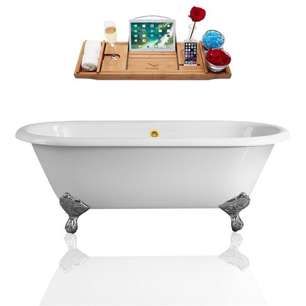 Streamline Freestanding Oval Bathtub - External Center Drain - 30-in x 66-in - Glossy White