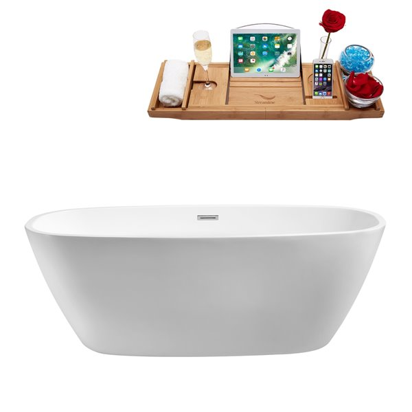 Streamline Modern Freestanding Oval Bathtub and Tray - 28-in x 59-in - Glossy White Acrylic