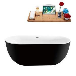 Baignoire autoportante ovale en acrylique de Streamline, drain interne centré, 28 po x 59 po, noir lustré