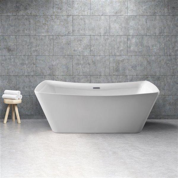 Streamline Freestanding Oval Bathtub - 30-in x 62-in - Glossy White Acrylic