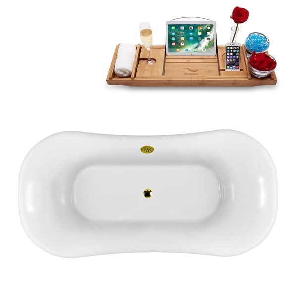 Streamline Freestanding Oval Bathtub and Tray - External Drain - 34-in x 68-in - Glossy White Acrylic