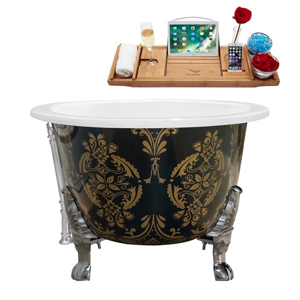 Streamline Freestanding Oval Bathtub with External Center Drain - 35-in x 65-in - Green and Gold Cast Iron