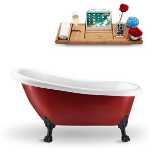 Baignoire sur pattes ovale en acrylique de Streamline, 28 po x 61 po, rouge lustré