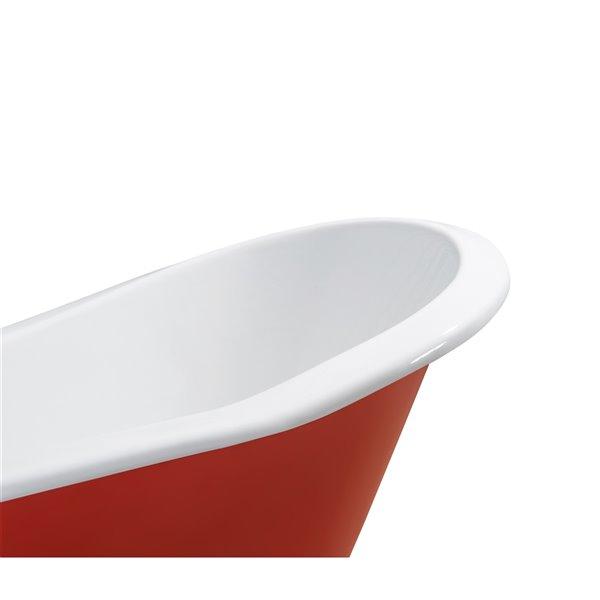 Baignoire de trempage sur pattes ovale en fonte de Streamline, drain externe, 30 po x 61 po, rouge lustré