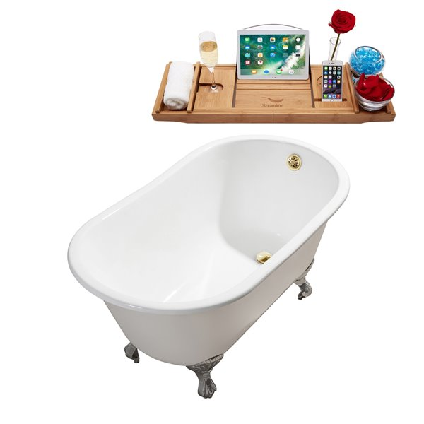 Streamline Freestanding Oval Bathtub and Tray - 28-in x 53-in - Glossy White Cast Iron