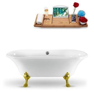 Baignoire sur pattes ovale en acrylique de Streamline, plateur décoratif en bois, 34 po x 68 po, blanc lustré
