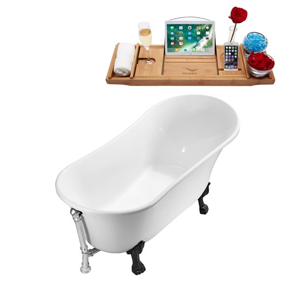 Streamline Freestanding Oval Bathtub and Tray - 59-in - Glossy White Acrylic/Chrome Overflow