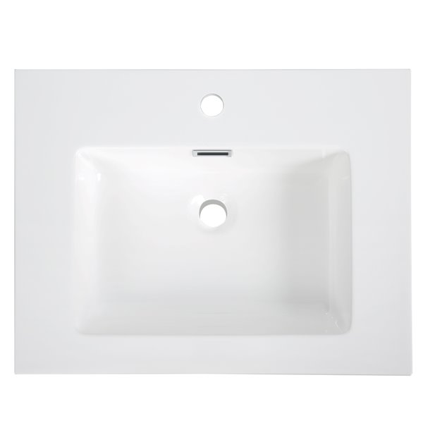 Streamline Modern Vanity Top with Single Sink - 23.6-in x 18.5-in - White