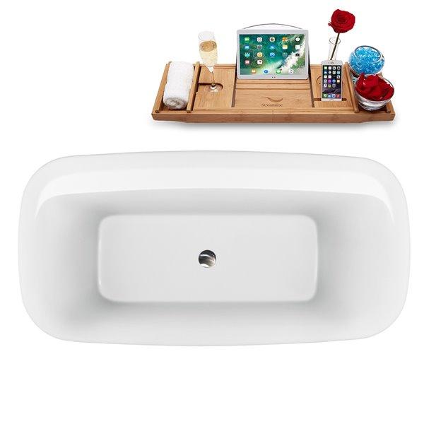Baignoire autoportante ovale de Streamline en acrylique, 30 po x 59 po, blanc lustré