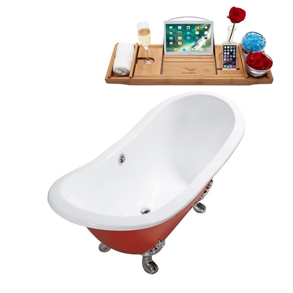 Streamline Freestanding Oval Bathtub - 30-in x 61-in - Glossy Red Cast Iron