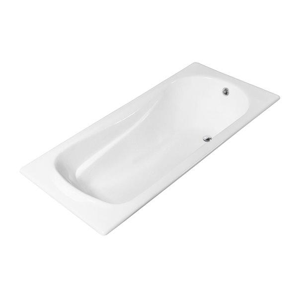 Baignoire encastrable rectangulaire en fonte de Streamline, 32 po x 71 po, blanc lustré