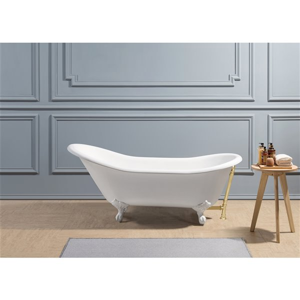 Streamline Freestanding Oval Bathtub with Reversible Drain - 30-in x 67-in - Glossy White Cast Iron