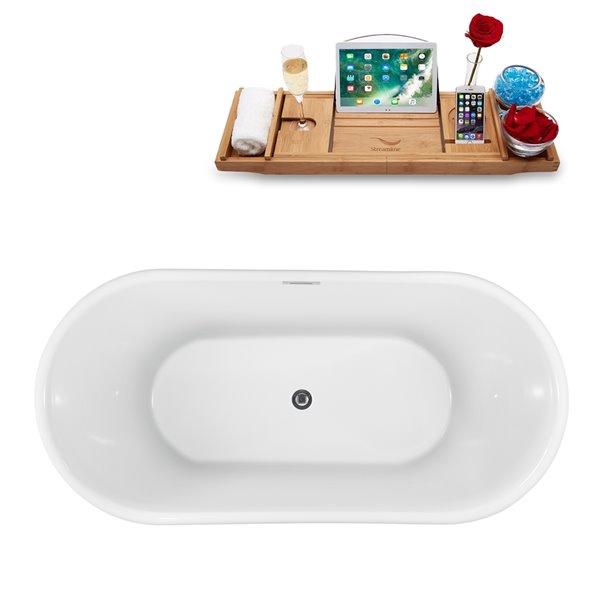 Baignoire autoportante ovale en acrylique de Streamline avec drain interne centré, 28 po x 59 po, blanc lustré