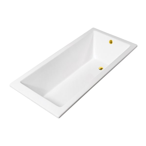 Streamline Drop-In Rectangular Bathtub - Reversible Drain - 32-in x 67-in - Glossy White