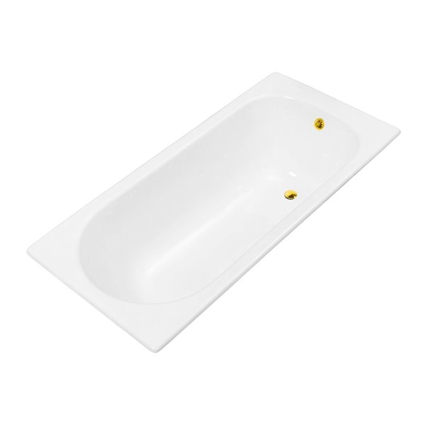 Streamline Drop-In Rectangular Bathtub - Reversible Drain - 28-in x 67-in - Glossy White Cast Iron
