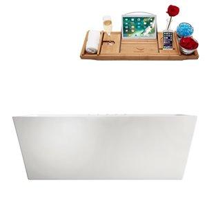 Baignoire autoportante rectangulaire en acrylique de Streamline, 32 po x 67 po, blanc lustré