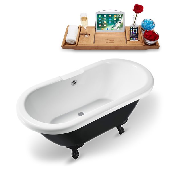 Streamline Freestanding Oval Bathtub and Tray - 28-in x 59-in - Glossy Black Acrylic/Chrome Overflow