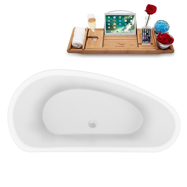 Streamline Modern Freestanding Oval Bathtub with Center Drain - 59-in - Glossy White Acrylic