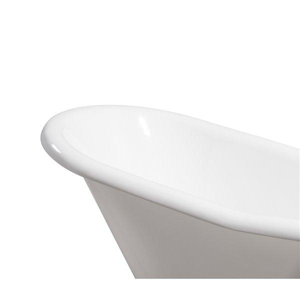 Baignoire de trempage sur pattes ovale en fonte de Streamline, drain réversible, 30 po x 60 po, blanc lustré