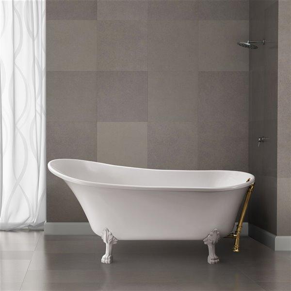 Baignoire de trempage sur pattes ovale en acrylique de Streamline avec drain externe, 32 po x 67 po, blanc lustré
