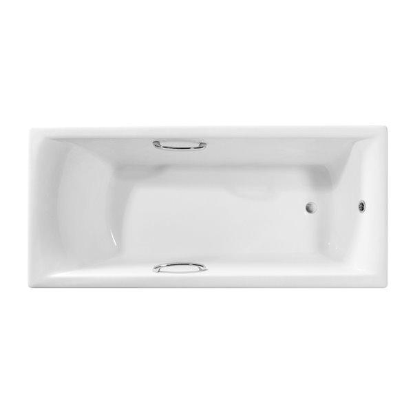 Baignoire en fonte encastrée rectangulaire de Streamline, 30 po x 67 po, blanc lustré