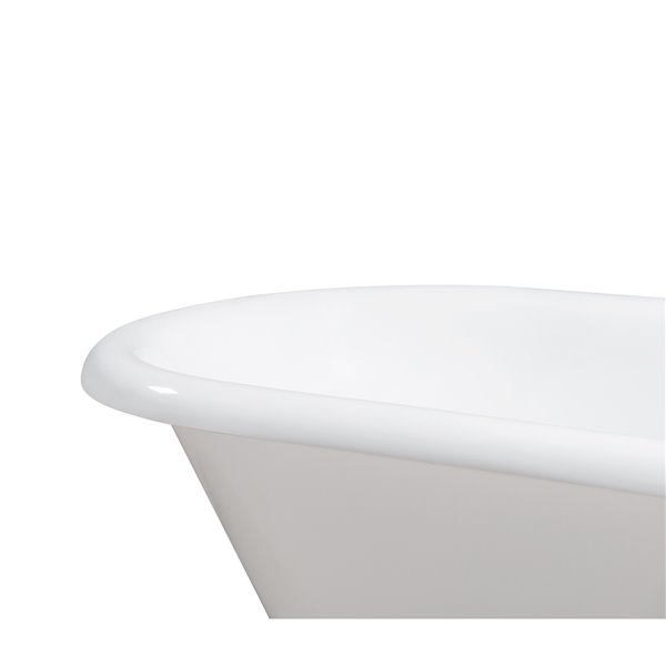 Streamline Freestanding Oval Bathtub with Reversible Drain - 66-in - Glossy White Cast Iron