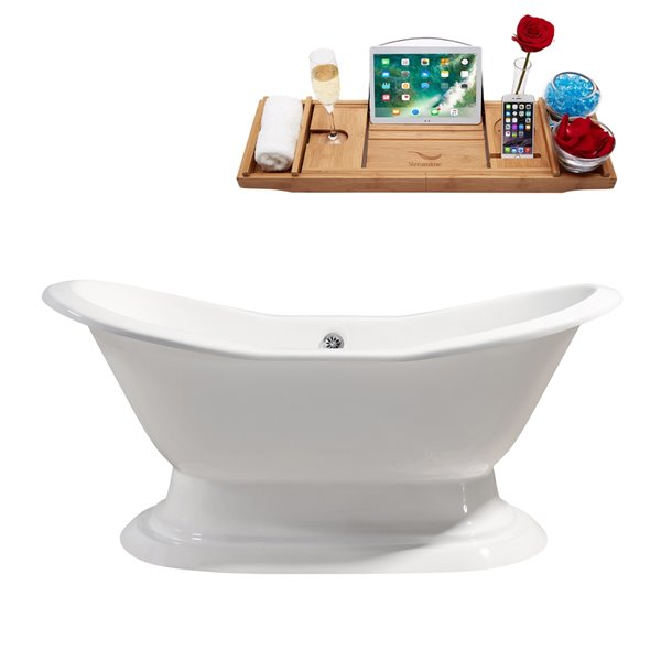 Streamline Freestanding Oval Bathtub - Center Drain - 31-in x 72-in - Glossy White Cast Iron