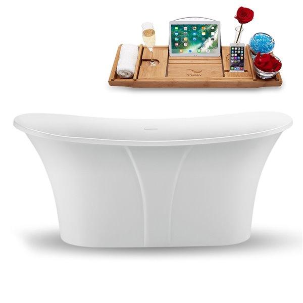 Streamline Modern Freestanding Oval Bathtub - 28-in x 59-in - Glossy White Acrylic