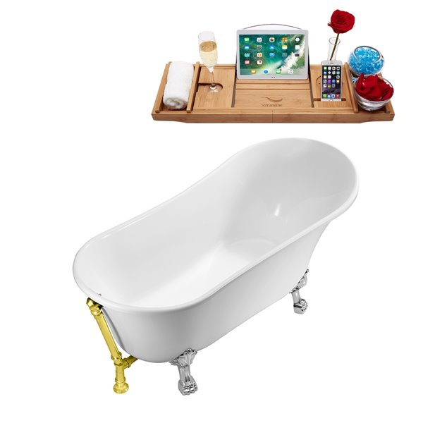Streamline Freestanding Oval Bathtub and Tray - 28-in x 59-in - Glossy White Acrylic