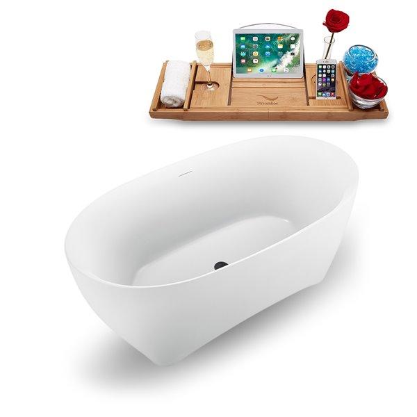 Baignoire autoportante ovale en acrylique de Streamline, drain interne centré, 30 po x 59 po, blanc lustré