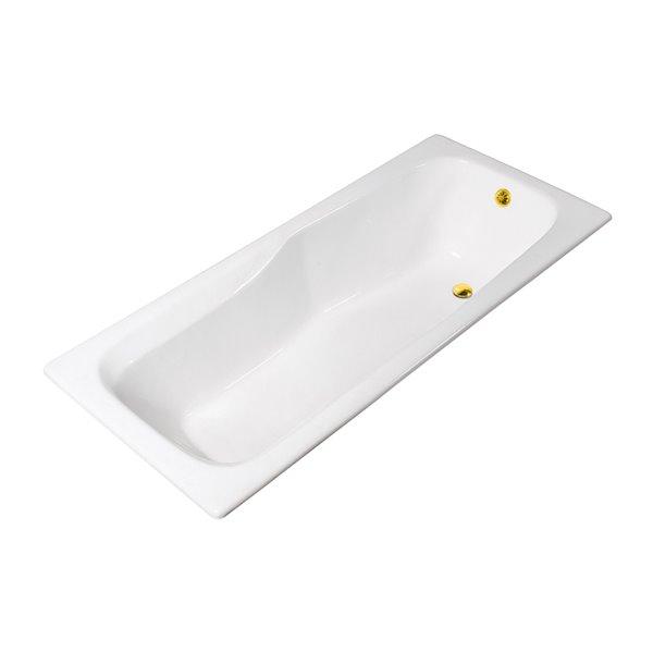 Baignoire encastrée rectangulaire en fonte de Streamline, 32 po x 71 po, blanc lustré