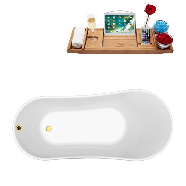Streamline Freestanding Oval Clawfoot Bathtub and Tray - 32-in x 67-in - Glossy White Acrylic