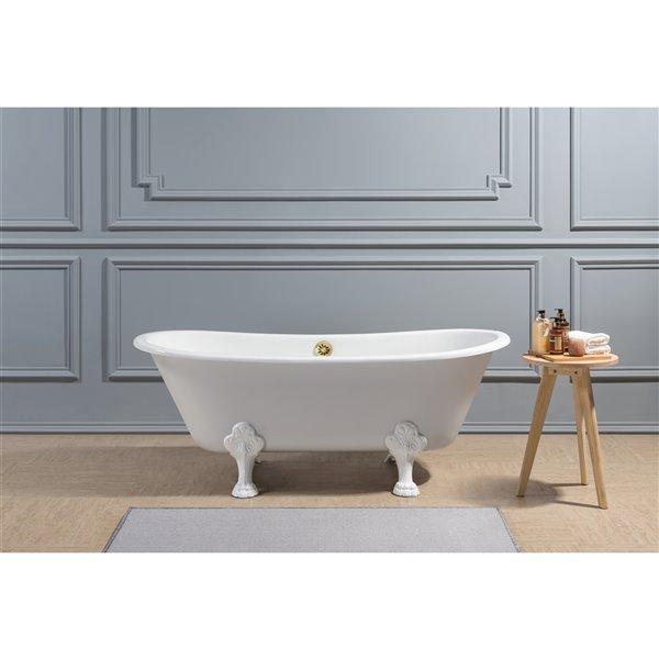 Streamline Freestanding Oval Bathtub - 28-in x 67-in - Glossy Purple Cast Iron