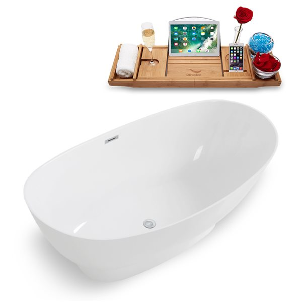 Streamline Freestanding Oval Bathtub with Tray - 34-in x 67-in - Glossy White Solid Surface