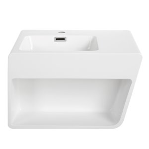Streamline Bathroom Sink with Integrated modern storage - 23.6-in x 17.7-in - White