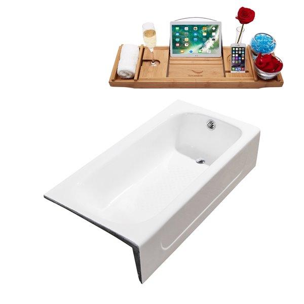 Baignoire en alcôve rectangulaire en fonte de Streamline, trop-plein intégré chromé, 30 po x 60 po, blanc lustré
