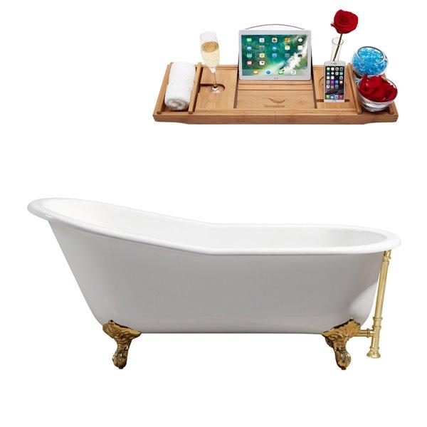 Streamline Freestanding Oval Clawfoot Bathtub - 30-in x 67-in - Glossy White Cast Iron