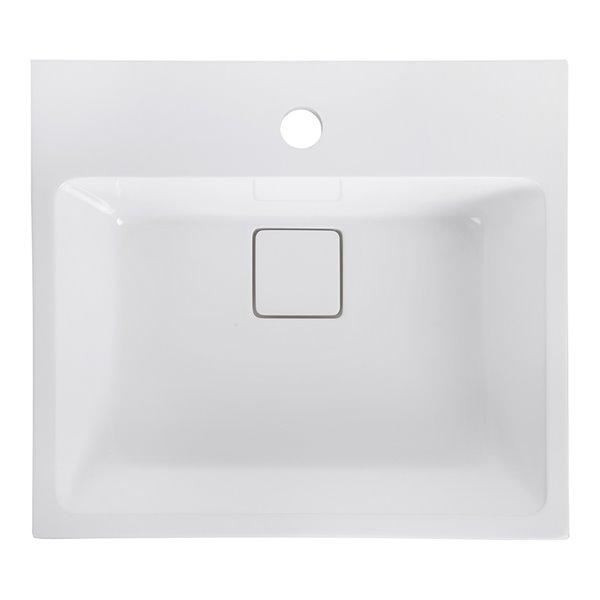 Streamline Bathroom Sink with Integrated modern storage - 17.7-in x 15.7-in - White
