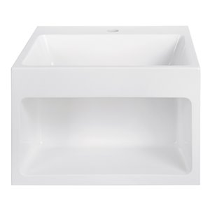 Streamline Bathroom Sink with Integrated modern storage - 17.7-in x 15.7-in - White