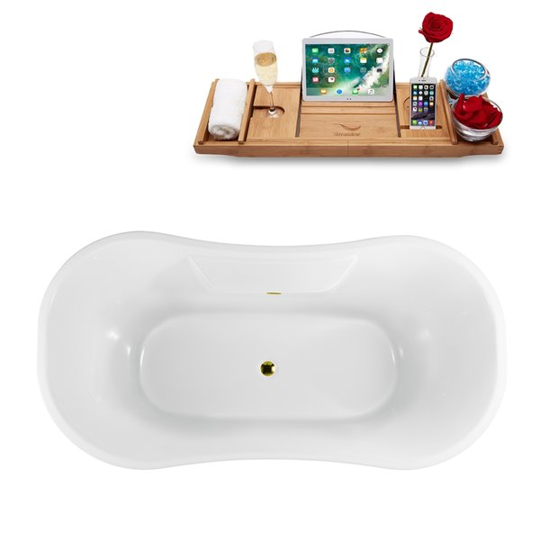 Streamline Freestanding Oval Clawfoot Bathtub and Tray - 34-in x 68-in - Glossy White Acrylic