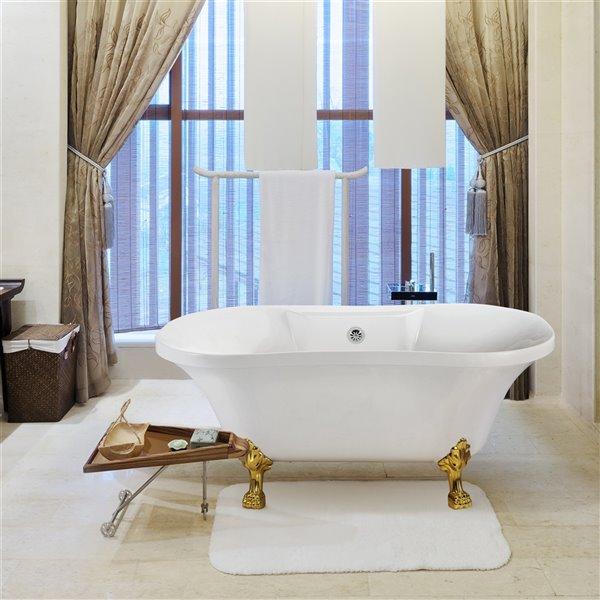 Streamline Freestanding Oval Bathtub with Center Drain - 32-in x 60-in - Glossy White Acrylic