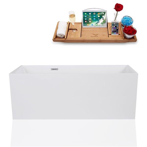 Streamline Freestanding Rectangular Bathtub - 29-in x 67-in - Glossy White Solid Surface